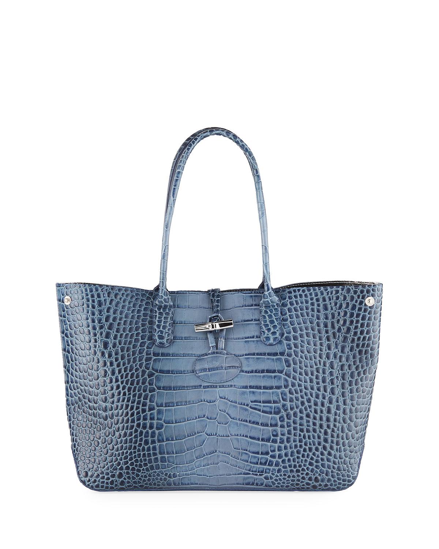 7fce92576e45 Longchamp Roseau Leather Shoulder Tote Bag