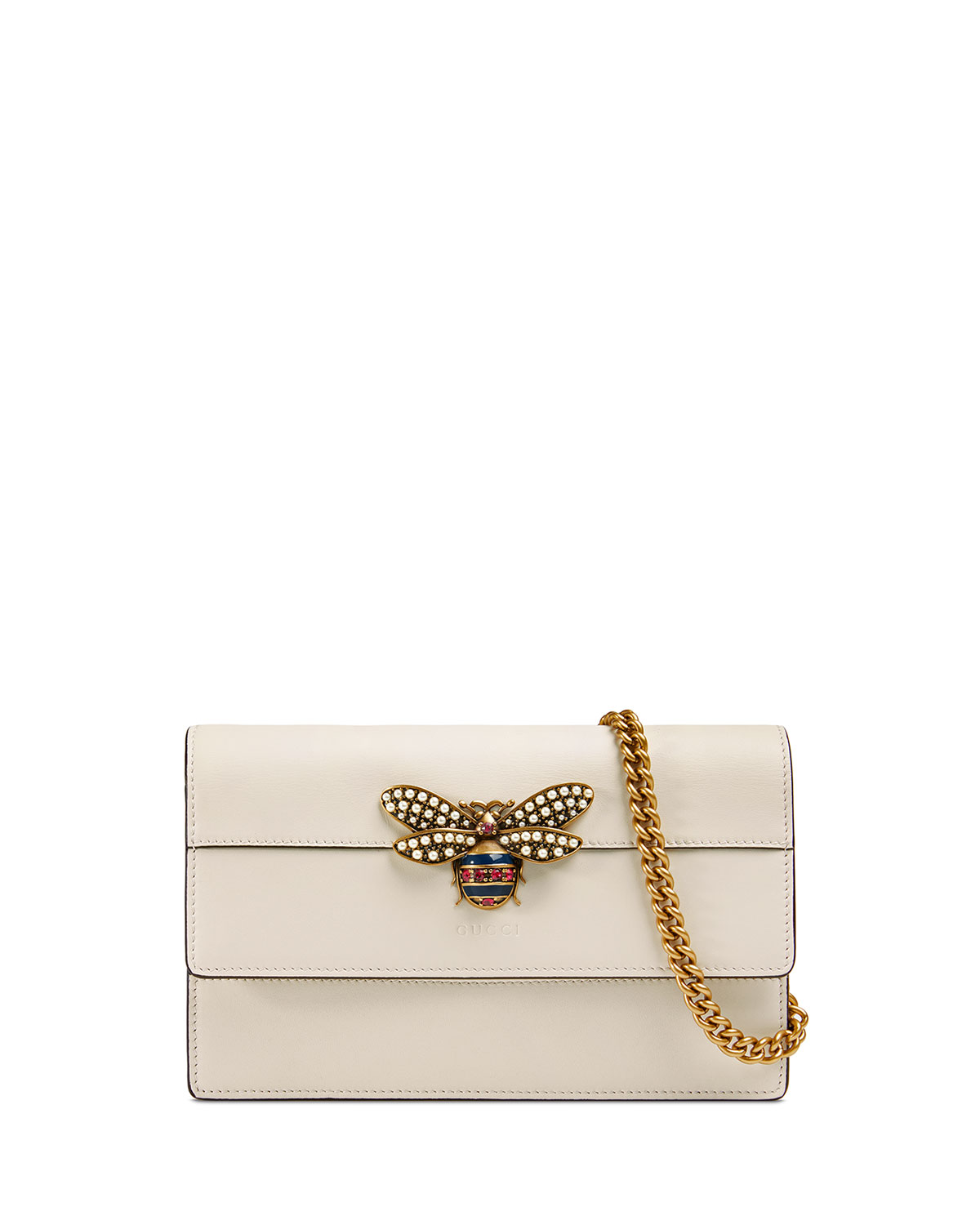 9652b58a4c4 Gucci Queen Margaret Leather Bee Wallet On Chain Bag   Neiman Marcus