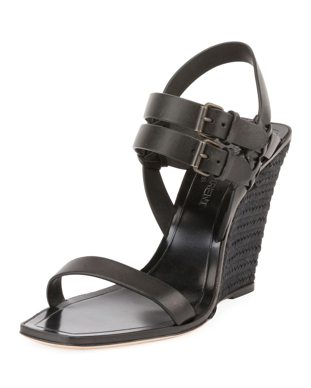 5096ca7a7e7 Saint Laurent Leather Wedge Espadrille Sandal | Neiman Marcus
