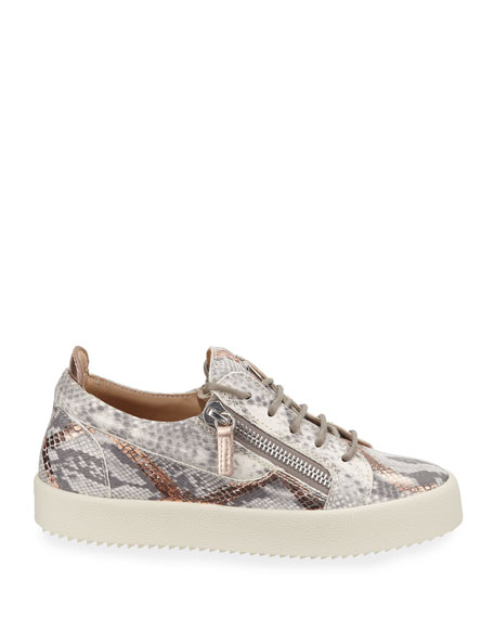 Image 2 of 3: Embossed Leather Low-Top Sneakers