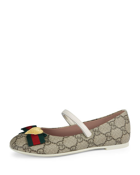 Gucci GG Supreme Web-Trim Mary Jane, Beige, Toddler