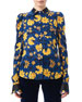 Image 1 of 2: Marlowe Floral Dot Satin-Trim Shirt