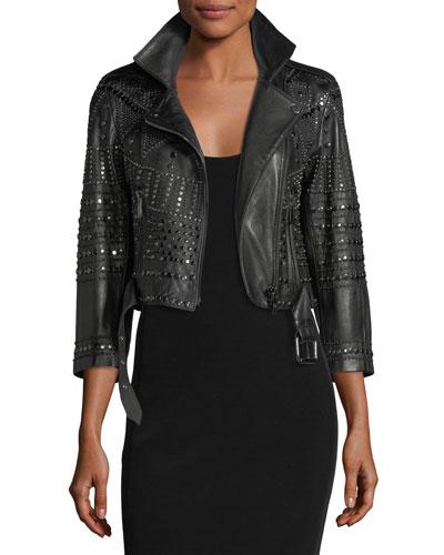 Vendome Cropped 3/4-Sleeve Studded Leather Moto Jacket