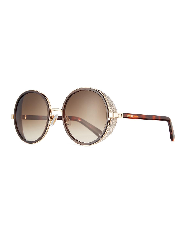 c7c9070261 Jimmy Choo Andie Round Glitter-Trim Sunglasses