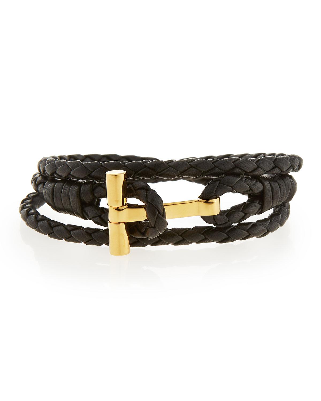 85e50ec64023a Men's Leather T Wrap Bracelet, Large