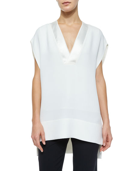 Vince CS SATIN TRIM V-NECK