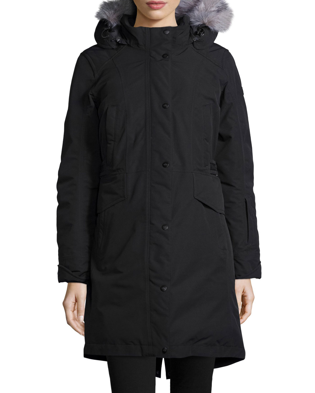 093171ae2 Tremaya Snap-Front Hooded Faux-Fur-Trim Parka Jacket