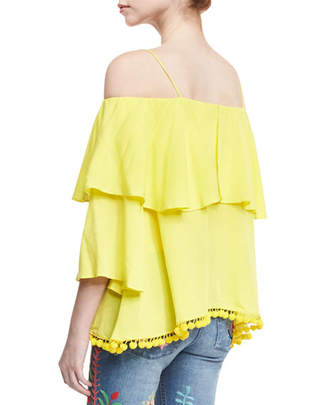 Image 3 of 5: Meagan Off-the-Shoulder Pompom-Trim Top