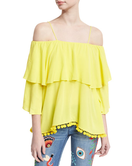 Image 1 of 5: Meagan Off-the-Shoulder Pompom-Trim Top