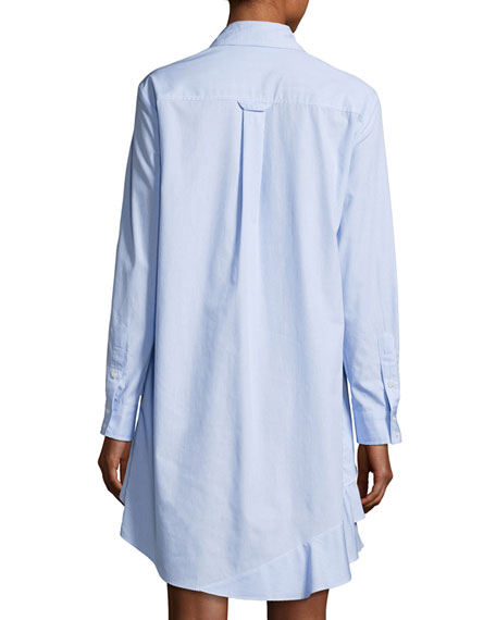 Jenna Long-Sleeve Ruffle-Tiered Striped Shirtdress