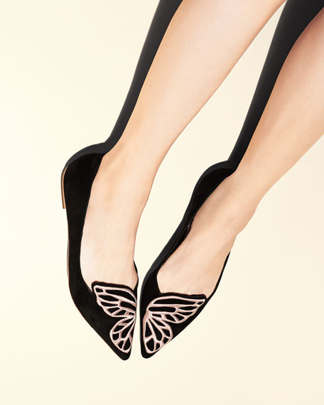 Bibi Butterfly Embroidered Suede Flat, Black/Rose Gold