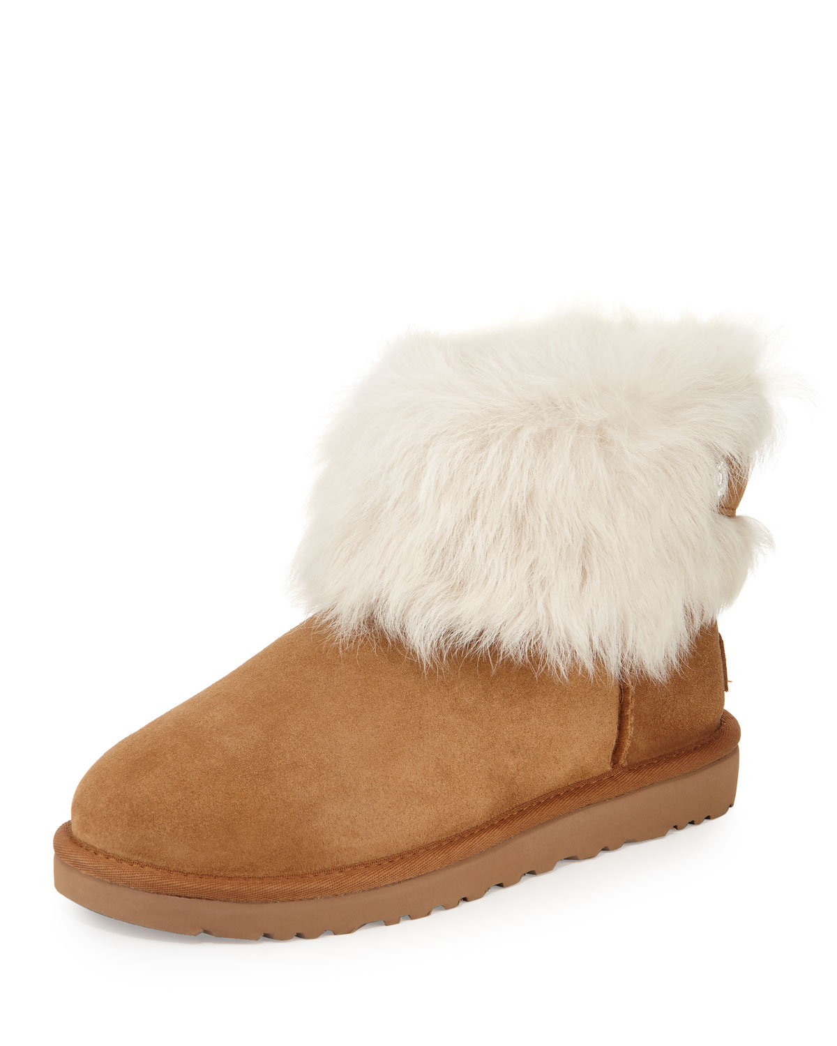 425200631 UGG Valentina Crystal-Button Shearling Fur Boot | Neiman Marcus