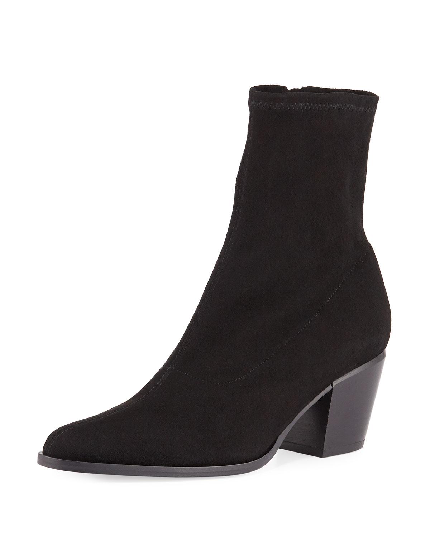 59ff3bafb89 Vince Hayek Suede Block-Heel Sock Booties   Neiman Marcus