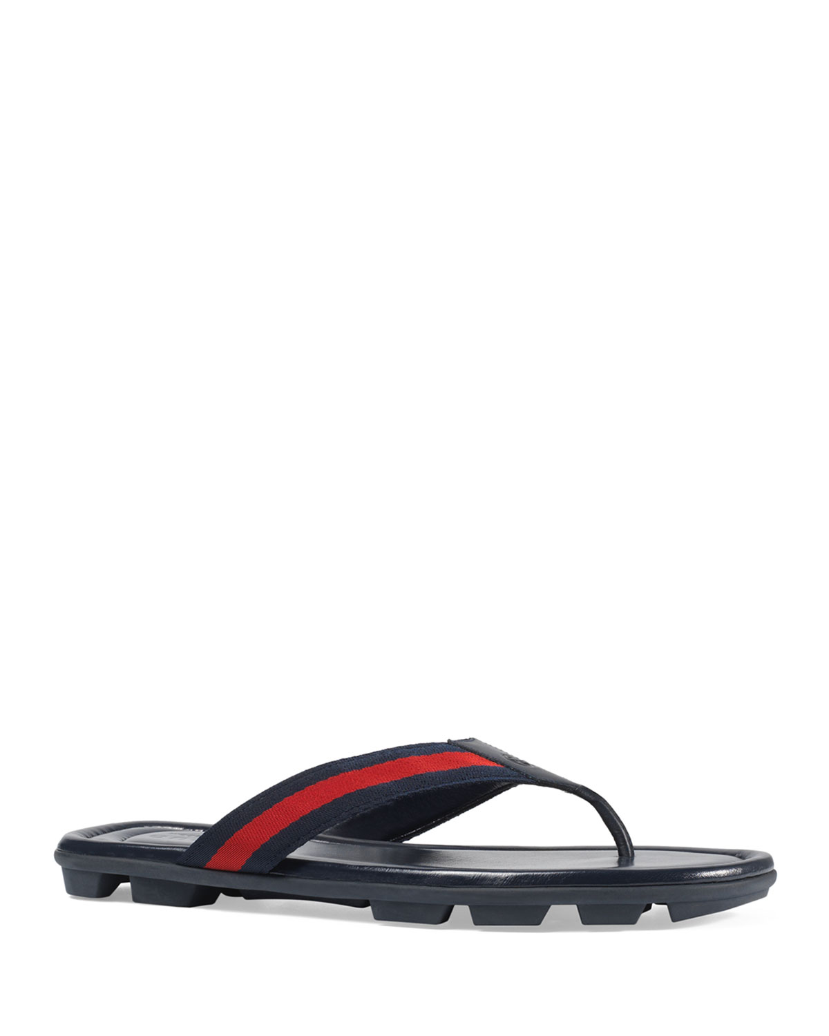 66f471384 Gucci Web & Leather Thong Sandals | Neiman Marcus