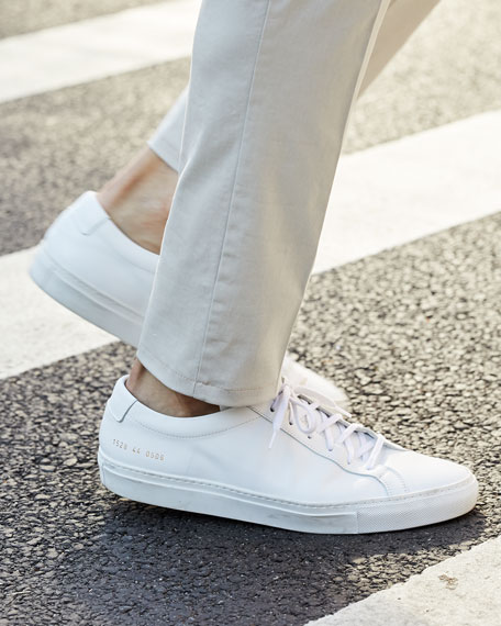 Image 2 of 6: Common Projects Men's Achilles Leather Low-Top Sneakers, White