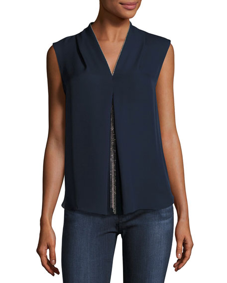 Nia Sleeveless Silk Blouse