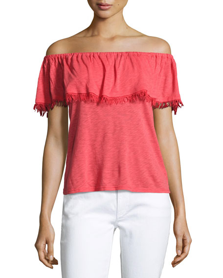 Senorita Off-the-Shoulder Fringed Top