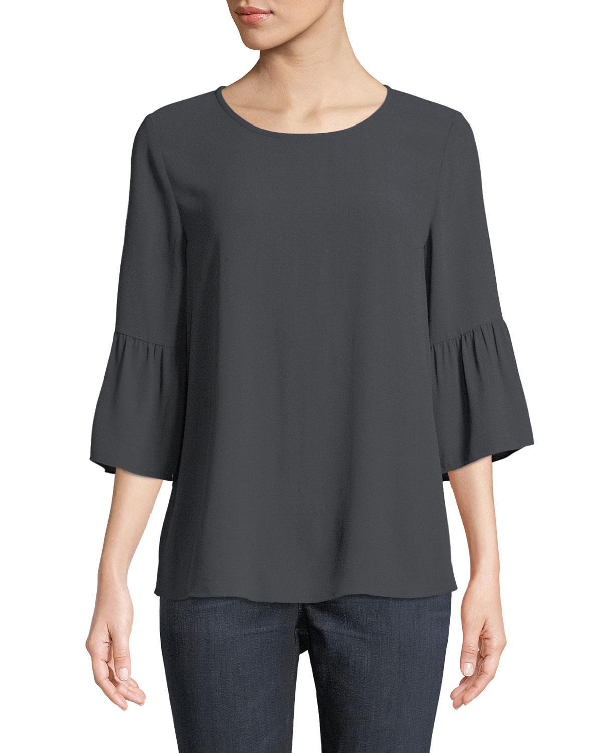 f1250fb735ded Eileen Fisher Plus Size Round-Neck Flutter-Sleeve Silk Top