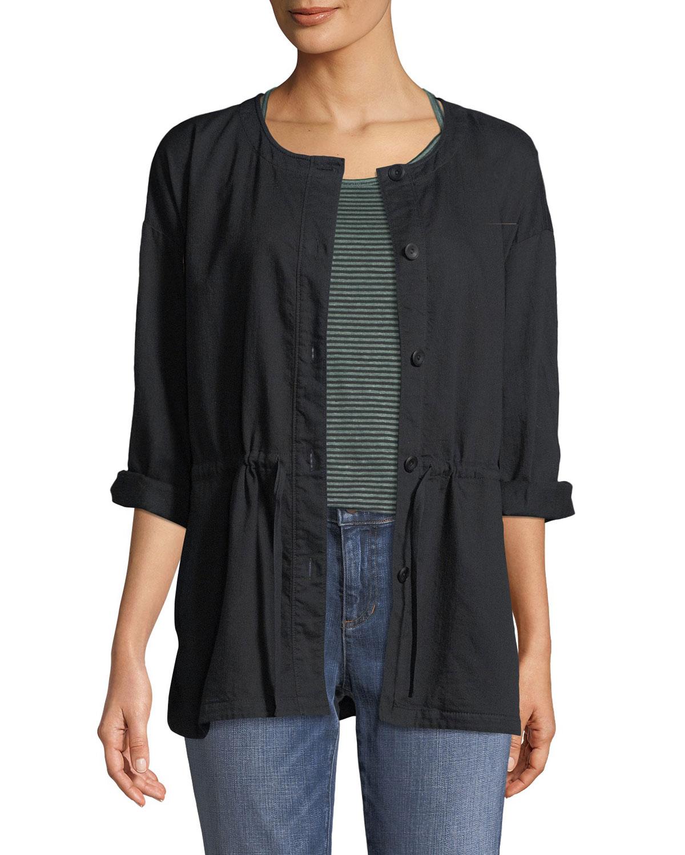 6c83f201249f9 Eileen Fisher Round-Neck Organic Cotton Twill Shirttail Jacket