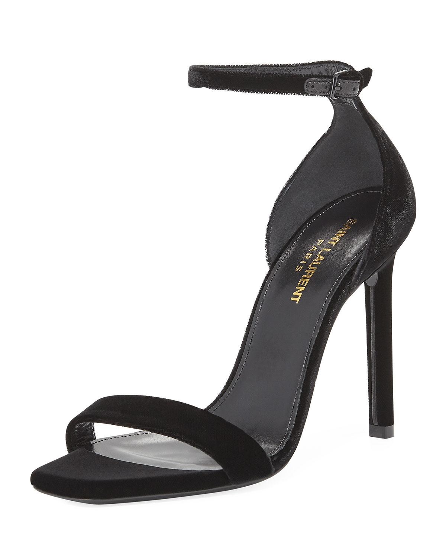 117b4d9b0e6 Saint Laurent Amber Velvet Ankle-Strap 105mm Sandal