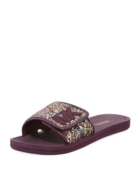 Michael Michael Kors Chunky Glitter Mk Flat Slide Sandal