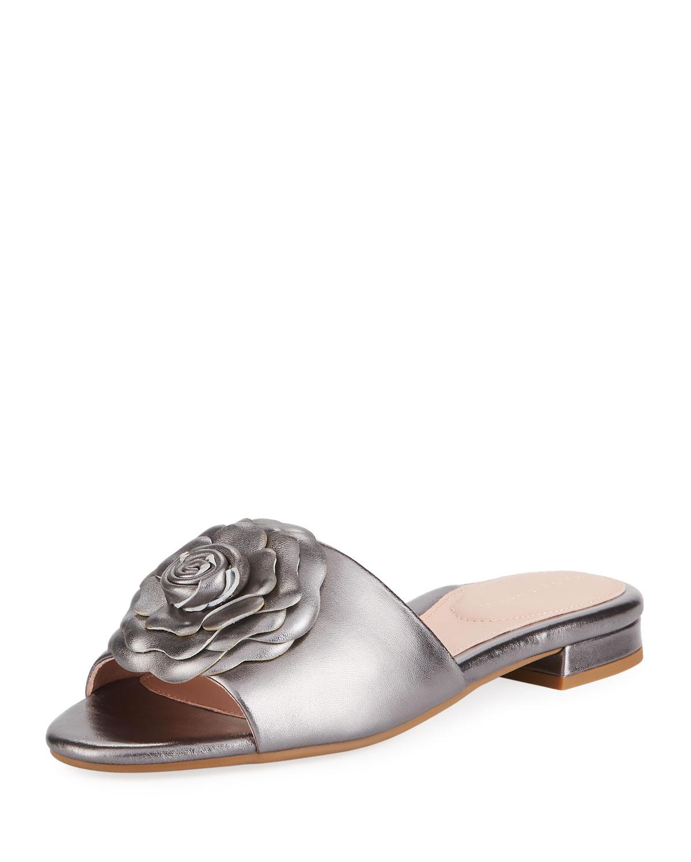 6e0c932fcbdf Taryn Rose Violet Flat Floral Metallic Leather Slide Sandal