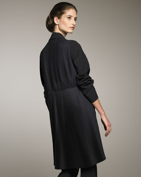 Stretch-Wool Silk-Plisse Coat