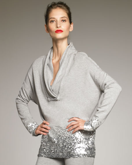 Sequin-Trim Jersey Pullover