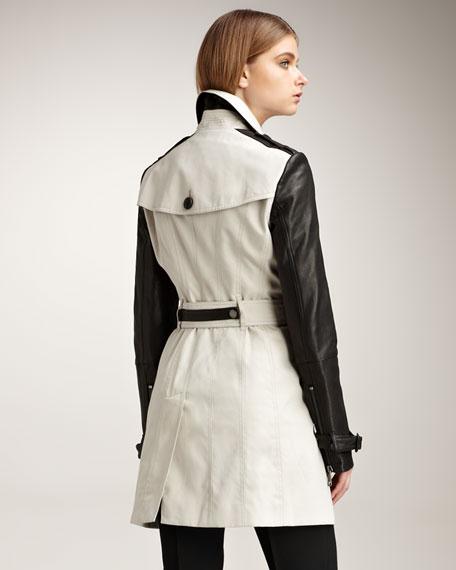 Leather-Sleeve Gabardine Trenchcoat