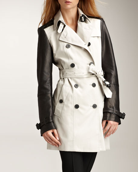Leather-Sleeve Gabardine Trenchcoat