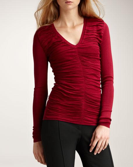 Ruched V-Neck Sweater, Crimson
