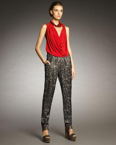 Sequin-Print Pants