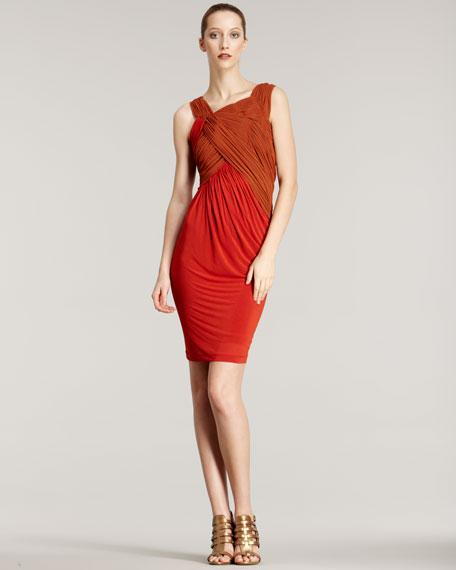 Slash Draped Jersey Dress
