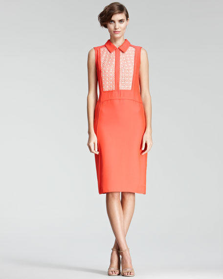 Voile-Inset Dress