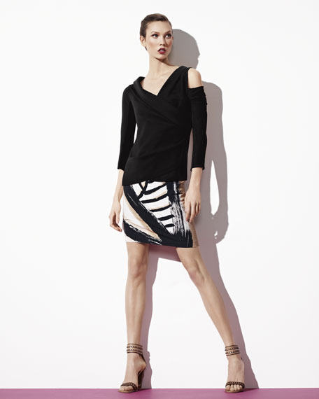 Leaf-Print Pencil Skirt