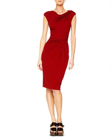 Draped Jersey Twist-Knot Dress