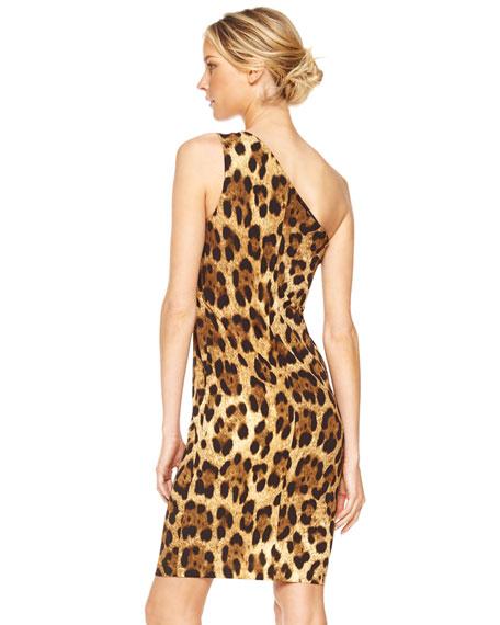 One-Shoulder Dress, Leopard Print
