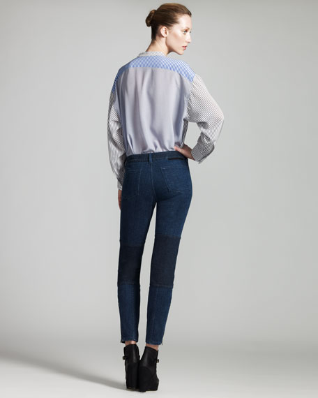 Knee-Patch Skinny Jeans