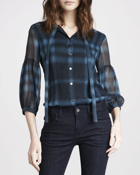 Check Georgette Blouse, Petrol Blue