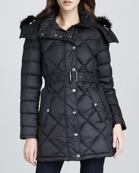 Fox-Trim Puffer Coat