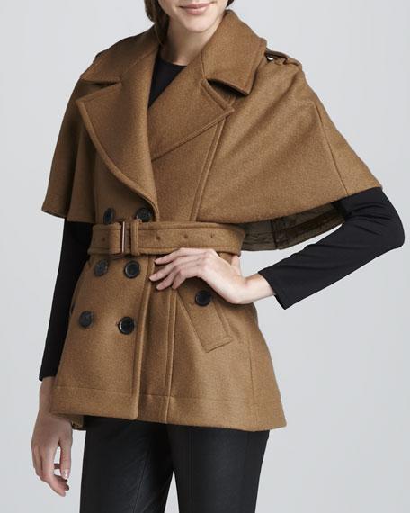 Boiled Wool Cape Jacket