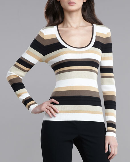 Ultra-Fine Rib-Knit Striped Sweater