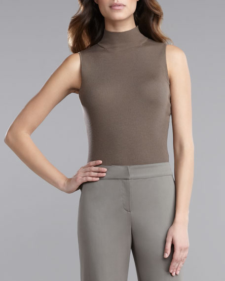 Ultra-Fine Rib-Knit Sleeveless Shell