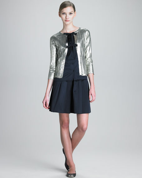 Satin Skirt with Pleated Front