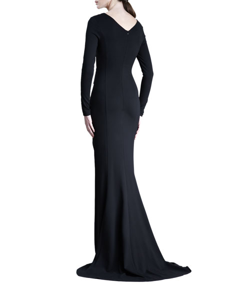 Gamze Long-Sleeve Jersey Gown