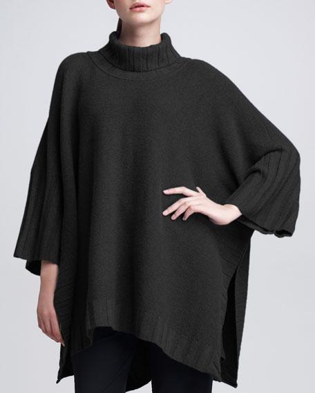 Garter-Stitch Cashmere Poncho, Black