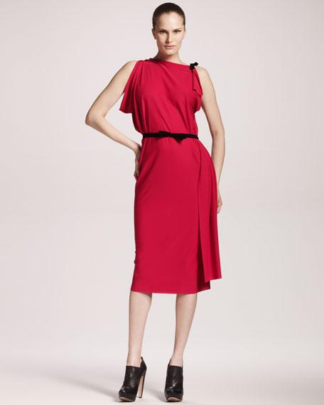 Pitt Asymmetric-Shoulder Dress, Fuchsia