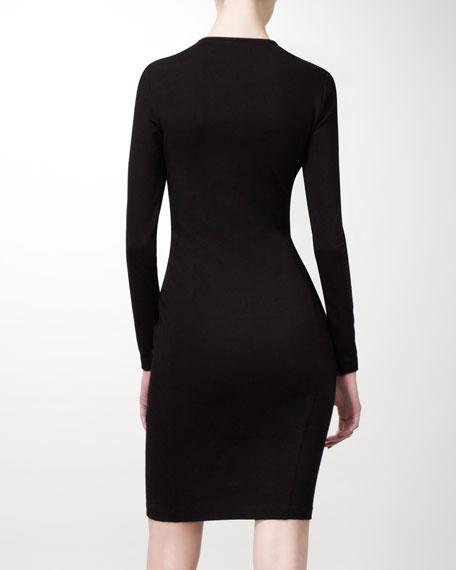 Long-Sleeve Damask Dress