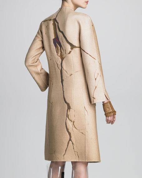 Crack-Print Cashmere Coat