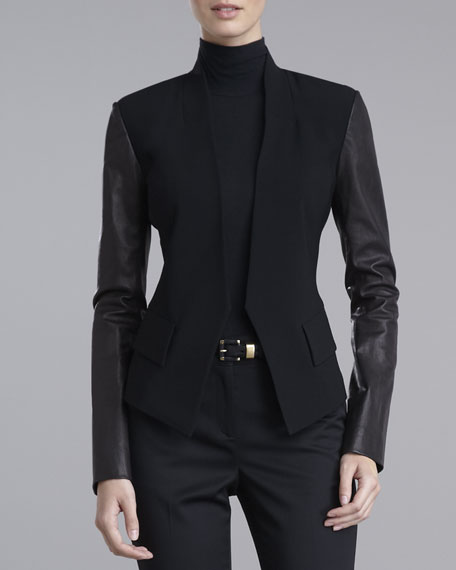 Leather-Sleeve Crepe Jacket